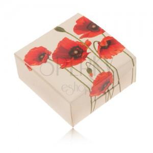 Krémová papírová krabička na prsten a náušnice, červený květ máku