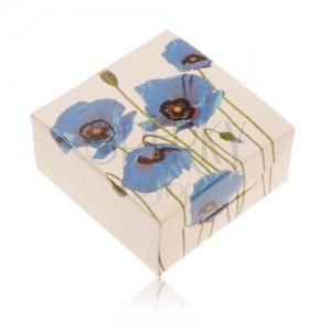 Papírová krabička na prsten nebo náušnice, krémová barva, modrý mák