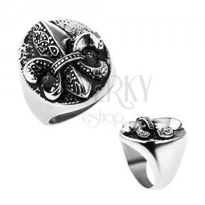 Prsten z oceli, Fleur de Lis v oválu, stříbrná barva, patina