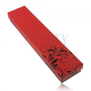 Krabička na řetízek a hodinky, červenočerné provedení, ornament s květy