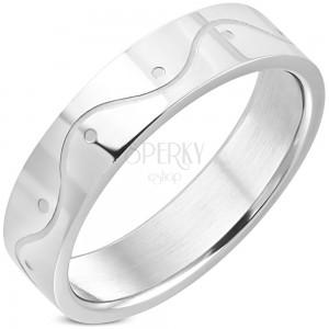 Prsten z chirurgické oceli - vlnka