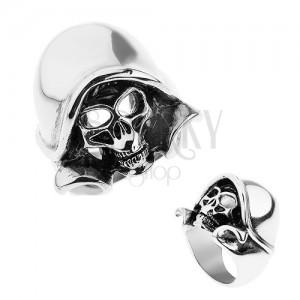 Ocelový prsten stříbrné barvy, patinovaná lebka s kapucí