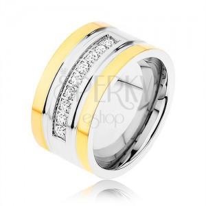 Ocelový prsten zlaté a stříbrné barvy, třpytivá zirkonová linka, zářezy