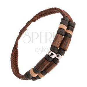 Kožený hnědý náramek, dřevěné prvky, ocelové válečky, ozdobná kolečka