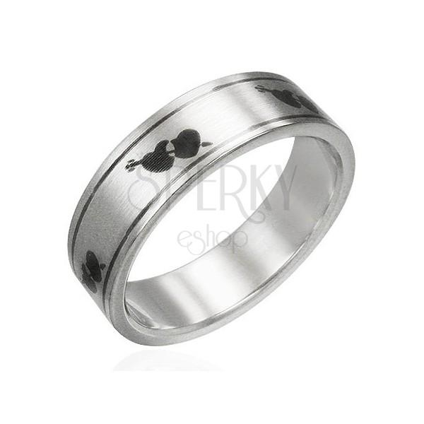 Prsten z oceli matný - srdíčka a šíp