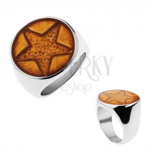 Mohutný prsten z chirurgické oceli, pěticípá hvězda třpytivé zlaté barvy