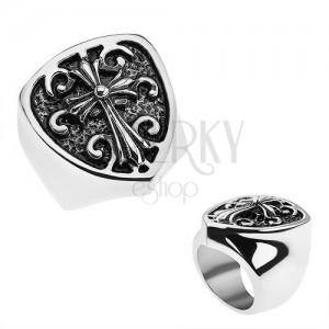Patinovaný prsten z oceli 316L, erb s liliovým křížem, ornamenty