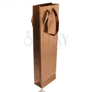 Podlouhlá taška na dárek bronzové barvy, třpytky, hnědé stužky