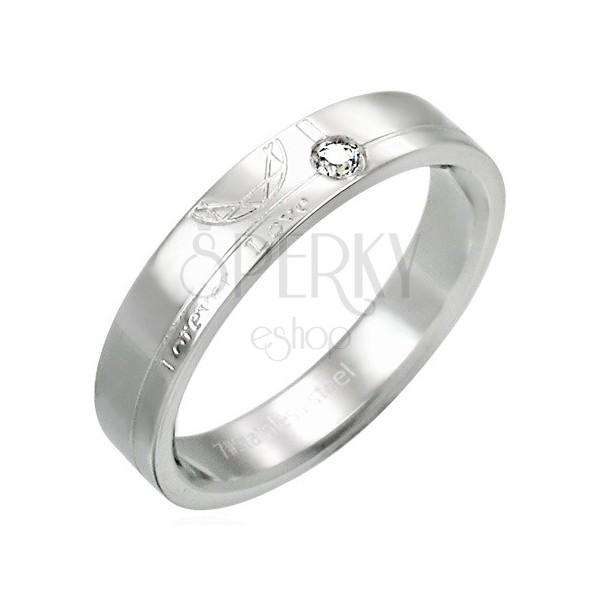 Ocelový prsten se zirkonem - Forever Love