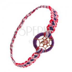 Barevný náramek na ruku z měkké vlny, kroužek, pavučinka s korálkem, styl lapač snů