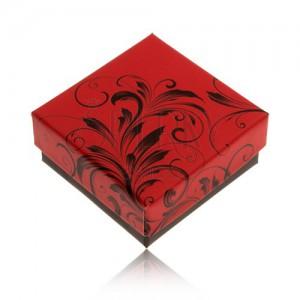 Nižší červenočerná krabička na prsten nebo náušnice, ornamenty