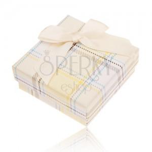 Krabička na prsten, náušnice a přívěsek, žlutý károvaný vzor, mašle