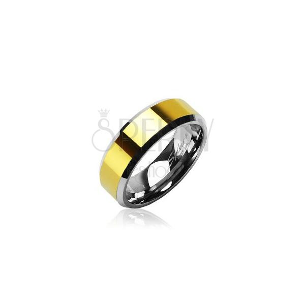 Wolframový prsten se zlatým obvodem