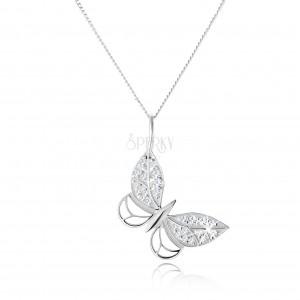 Stříbrný náhrdelník 925, kontura motýla, zirkonové zdobení, nastavitelný