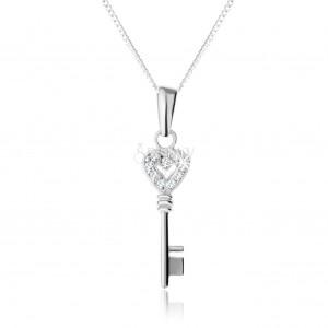 Nastavitelný náhrdelník - stříbro 925, přívěsek ve tvaru klíče se zirkonovým zdobením