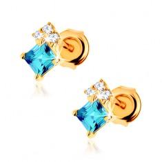 Náušnice ze žlutého 9K zlata, čtvercový modrý topas, čiré zirkonky GG61.25