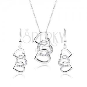 Stříbrný set 925, náušnice a náhrdelník - siluety tří propojených srdcí, čiré zirkony