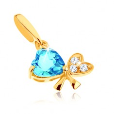 Přívěsek ze žlutého 9K zlata - modrý topas, mašle ze dvou srdcí, čiré zirkony GG63.30
