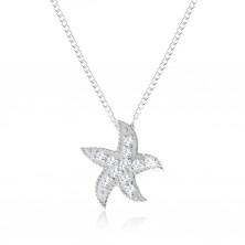 Stříbrný náhrdelník 925, mořská hvězdice zdobená malými kulatými zirkony