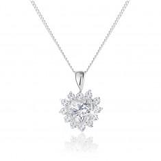Stříbrný náhrdelník 925, třpytivý přívěsek ve tvaru zirkonového srdce s ozdobným lemováním SP56.28