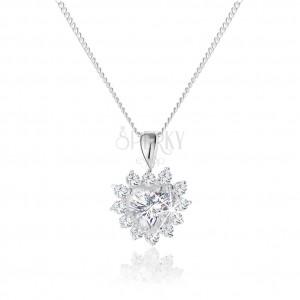 Stříbrný náhrdelník 925, třpytivý přívěsek ve tvaru zirkonového srdce s ozdobným lemováním