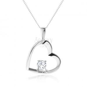 Náhrdelník ze stříbra 925, lesklý obrys pravidelného srdce s kulatým zirkonem