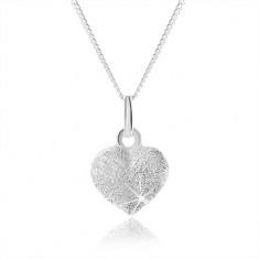 Třpytivý stříbrný náhrdelník 925, plné rovnoměrné srdíčko, nastavitelný SP57.01