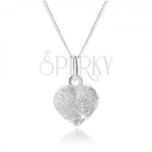 Třpytivý stříbrný náhrdelník 925, plné rovnoměrné srdíčko, nastavitelný