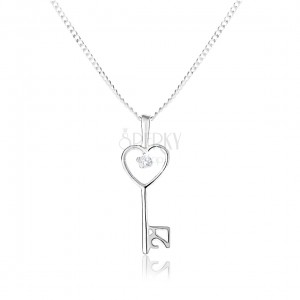 Nastavitelný náhrdelník - stříbro 925, hladký lesklý klíč a jemný řetízek