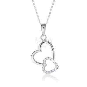 Stříbrný 925 náhrdelník, dvě propojené kontury srdcí, nastavitelný