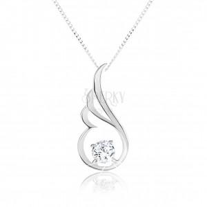 Stříbrný náhrdelník 925, blyštivá kontura andělského křídla, čirý zirkon