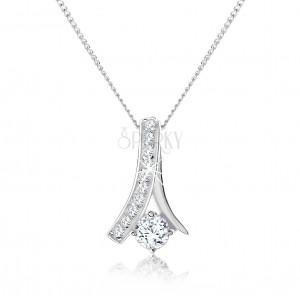 Nastavitelný náhrdelník, zahnutá zirkonová linie, kulatý čirý zirkon, stříbro 925
