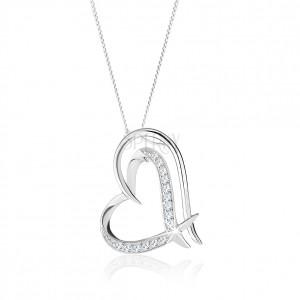 Stříbrný náhrdelník 925, zdvojená kontura nepravidelného srdce, čiré zirkonky