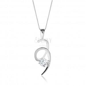 Stříbrný 925 náhrdelník, blyštivá spirála zdobená čirým kulatým zirkonem