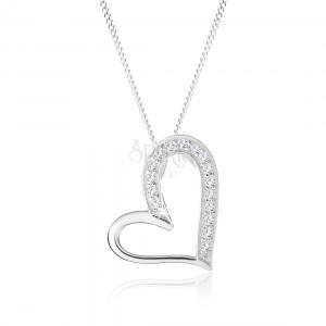 Náhrdelník ze stříbra 925, asymetrický obrys srdce, čiré zirkonky