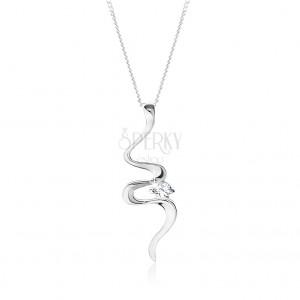 Nastavitelný stříbrný 925 náhrdelník, nepravidelně zvlněná stuha, čirý zirkon