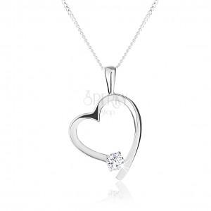 Náhrdelník ze stříbra 925, kontura asymetrického srdce, kulatý čirý zirkon