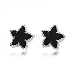 Puzetové náušnice, černé hvězdy s vroubkovaným lemem, stříbro 925