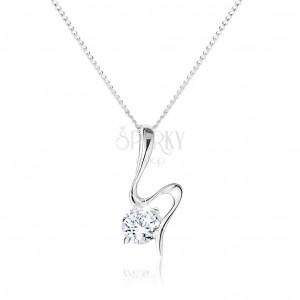 Stříbrný náhrdelník 925, vlnící se stuha, kulatý zirkon čiré barvy
