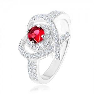 Prsten ze stříbra 925, obrys srdíčka s překříženými liniemi, růžový zirkon
