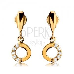 Náušnice ve žlutém 9K zlatě - podlouhlá slzička s visícím kroužkem, čiré zirkony