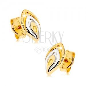 Zlaté puzetové náušnice 375 - dvoubarevný lupínek květu, rhodiovaný povrch
