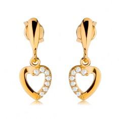 Náušnice ze žlutého 9K zlata - obrys srdce se zirkonovou polovinou, úzká kapka GG44.01