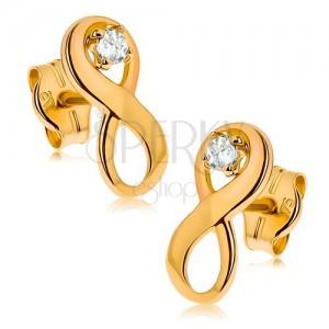 """Náušnice ve žlutém 9K zlatě - symbol """"INFINITY"""" zdobený čirým zirkonem"""