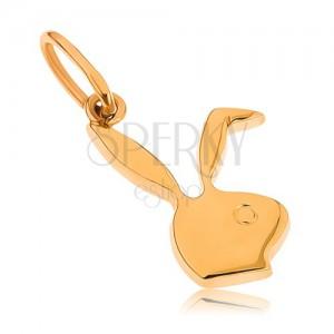 Plochý přívěsek ze žlutého 9K zlata - hlava zajíčka Playboy