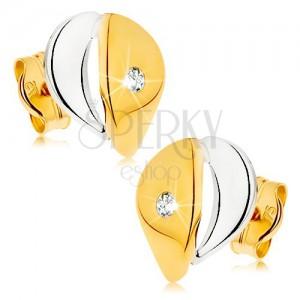 Náušnice z 9K zlata - širší kapka s čirým zirkonkem, dvoubarevné provedení