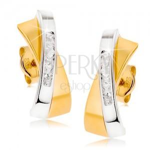 Dvoubarevné zlaté náušnice 375 - dva prolínající se obloučky, čirá zirkonová linie