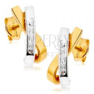 Rhodiované náušnice z 9K zlata - dvě zahnuté překřížené linie, čiré zirkonky