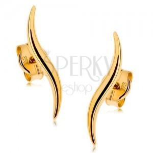 Puzetové náušnice v 9K žlutém zlatě - úzké blýskavé vlnky