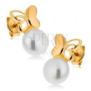 Zlaté náušnice 375 - malý motýlek s vyřezávaným křídlem, bílá perla